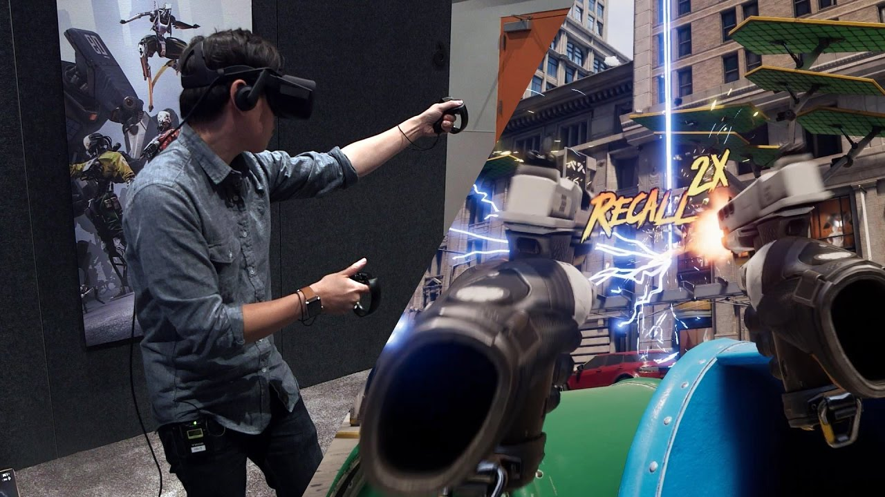 Man demoing the game Robo Recall on the Oculus Rift.