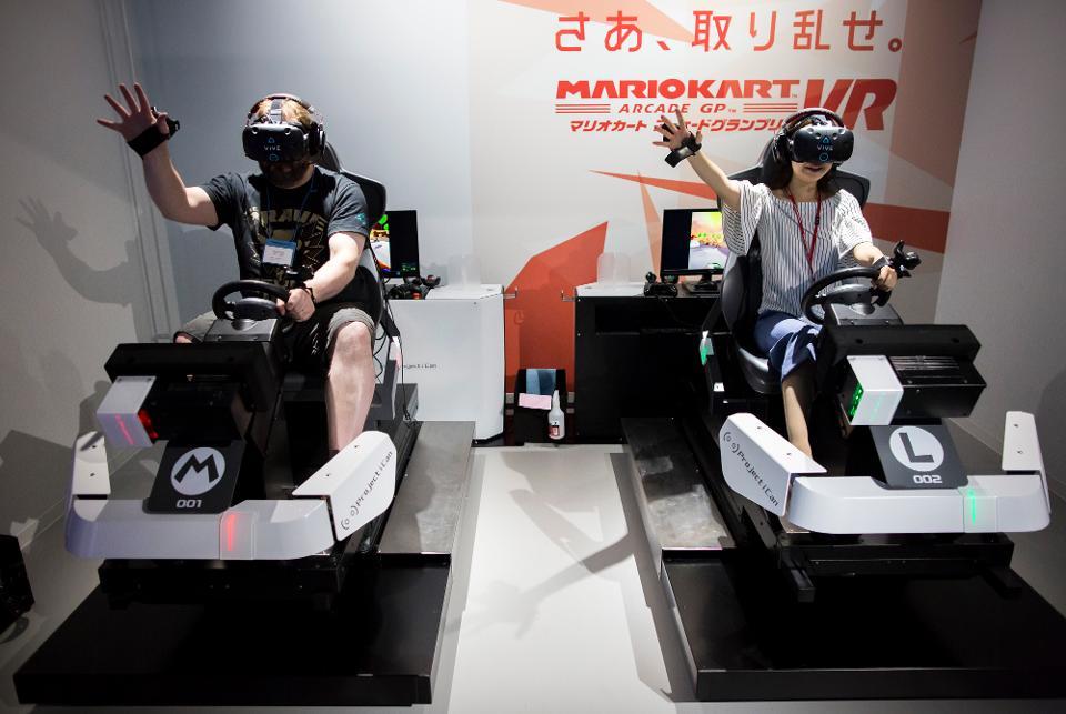 Mario Kart VR on display at a virtual reality Arcade in Japan.
