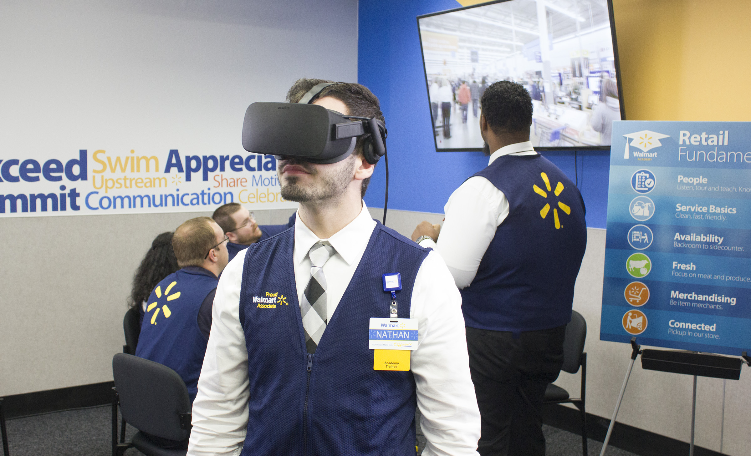 New WalMart Employee Completing Orientation in Virtual Reality.
